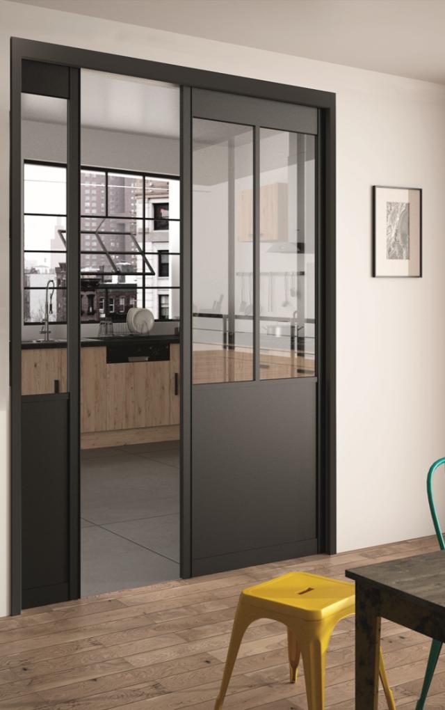 S paration de pi ces gamme atelier montant aluminium hue socoda n goces bois panneaux - Porte coulissante separation de piece ...